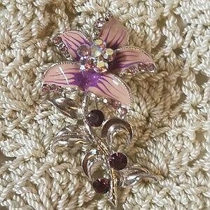 Vintage Purply Pink AB & Silver Brooch